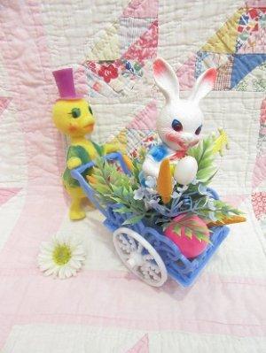 画像1: Easter Ornament Bunny Wagon