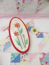 Flower Embroidery Zip Pouch