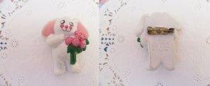 画像2: White Bunny Rose Pins